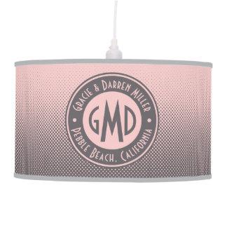 Luminária De Teto Na moda cinzento cor-de-rosa milenar do monograma