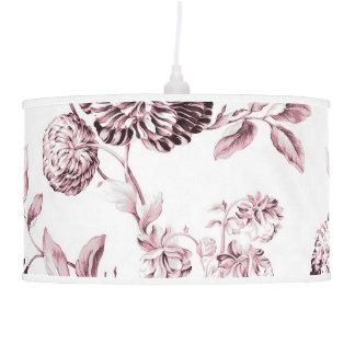Luminária De Teto O branco & cora Toile floral botânico cor-de-rosa