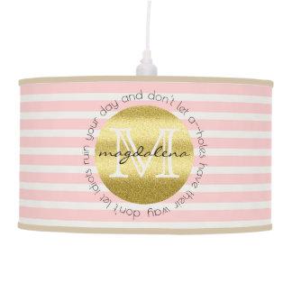 Luminária De Teto O brilho na moda do ouro do monograma cora listras