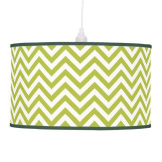 Luminária De Teto O ziguezague verde e branco listra o teste padrão
