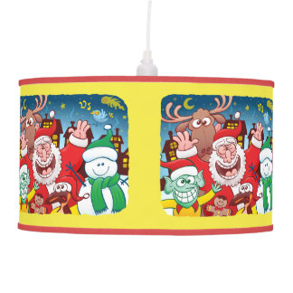 Luminária De Teto Papai Noel e sua equipe estão prontos para o Natal