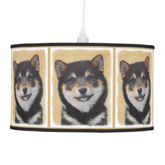 Luminária De Teto Pintura de Shiba Inu (preto e Tan) - arte do cão