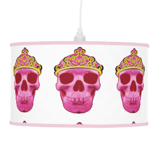 Luminária De Teto Princesa cor-de-rosa Crânio