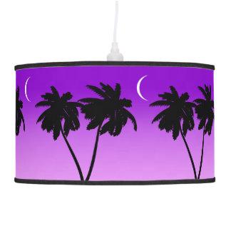 Luminária De Teto Silhueta da palmeira no roxo crepuscular