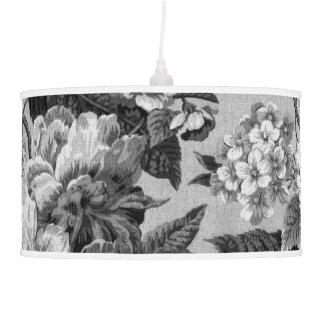 Luminária De Teto Tom cinzento preto & branco Toile floral botânico