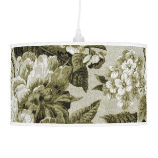 Luminária De Teto Vintage Toile floral botânico do tom da verde