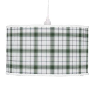 Luminária De Teto Xadrez de Tartan branca verde