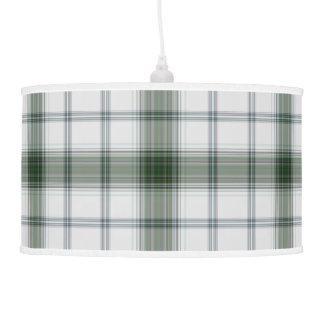 Luminária De Teto Xadrez de Tartan gigante branca verde