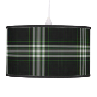 Luminária De Teto Xadrez de Tartan gigante verde branca preta