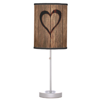 Luminária Madeira rústica impressão queimado do coração