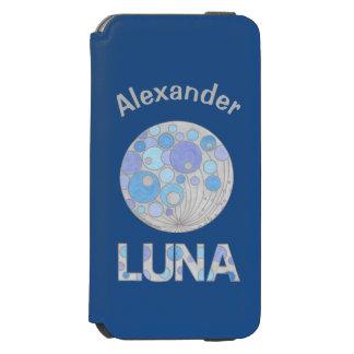 Luna geek azul e roxo da Lua cheia do espaço