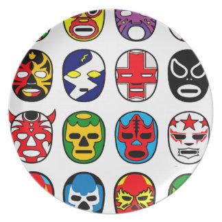 Luta do mexicano do lutador da máscara de Lucha Li Prato De Festa