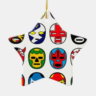 Luta do mexicano do lutador da máscara de Lucha Ornamento De Cerâmica Estrela