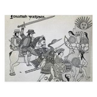Luta entre o espanhol e os astecas cartao postal
