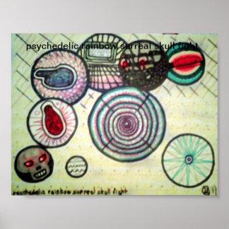 luta surreal do crânio do arco-íris psicadélico poster