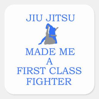lutador brasileiro do jitsu do jiu adesivo quadrado