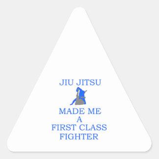 lutador brasileiro do jitsu do jiu adesivo triangular