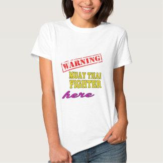 Lutador tailandês de advertência de Muay T-shirt