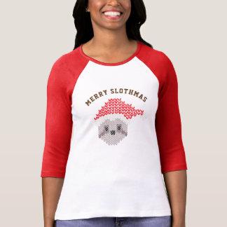 Luva alegre do Raglan 3/4 de Slothmas da preguiça Camiseta