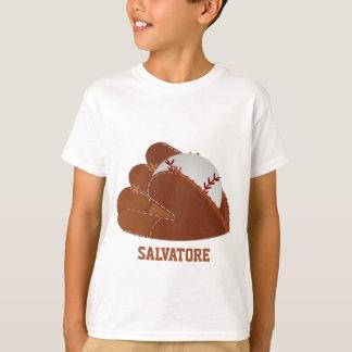Luva & bola personalizadas de basebol camiseta