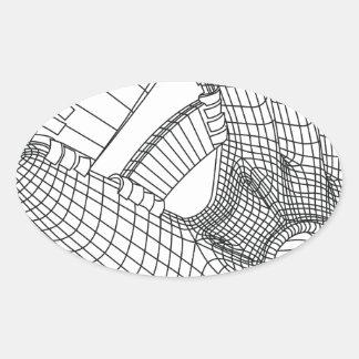 luva de basebol adesivo oval