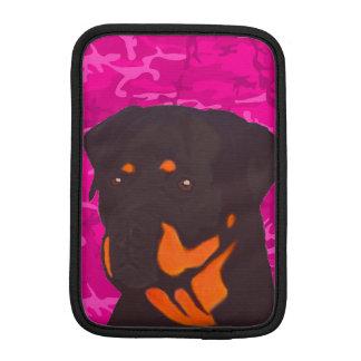 Luva De iPad Mini Camo cor-de-rosa com Rottweiler