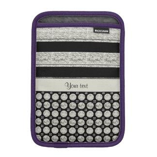 Luva De iPad Mini Listras e pontos de prata & pretos do brilho