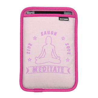 Luva De iPad Mini O amor vivo do riso Meditate texto fêmea (o néon)