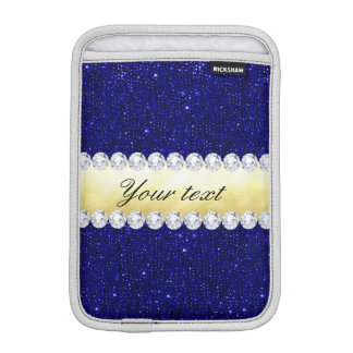 Luva De iPad Mini Sequins personalizados do marinho, ouro, diamantes