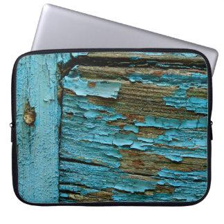 Luva de madeira azul do laptop capa para computador
