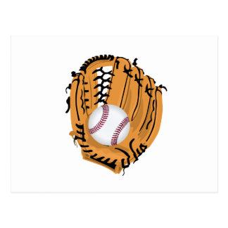 Luva e bola de basebol cartão postal