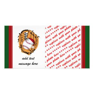 Luva e bola de basebol do Natal Cartão