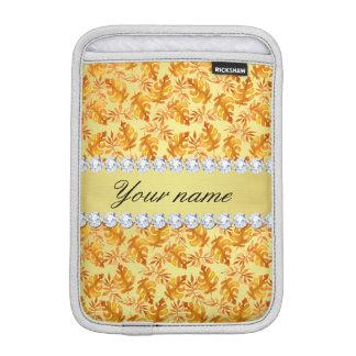 Luva iPad Mini A queda deixa diamantes de Bling da folha de ouro