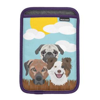 Luva iPad Mini Cães afortunados da ilustração em uma cerca de