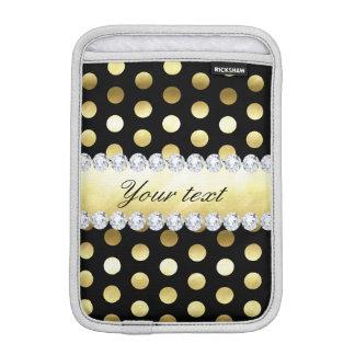 Luva iPad Mini Diamantes pretos das bolinhas da folha de ouro