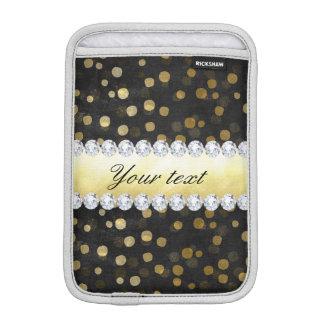 Luva iPad Mini Diamantes pretos dos confetes do ouro do quadro