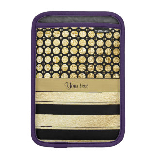 Luva iPad Mini Ouro & listras e pontos pretos do brilho
