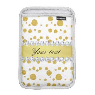 Luva iPad Mini Pintura e diamantes de óleo do ouro das bolinhas