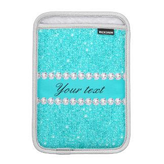 Luva iPad Mini Sequins e diamantes personalizados de turquesa
