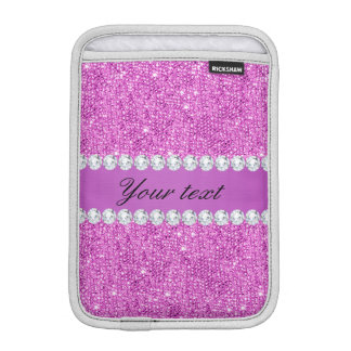 Luva iPad Mini Sequins roxos chiques e diamantes do falso