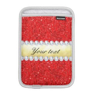 Luva iPad Mini Sequins vermelhos personalizados, folha de ouro,