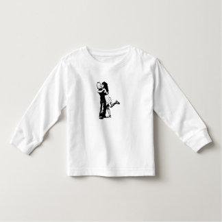 Luva longa da criança, branco - a menina/miúdos tshirt