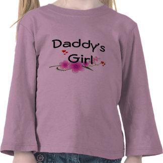 Luva longa da criança da menina do pai camisetas