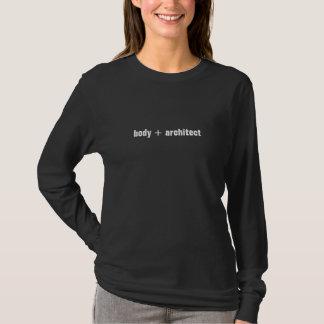 Luva longa das senhoras da malhação do fluxo de camiseta