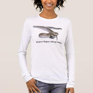 Luva longa das senhoras ocidentais do cobra camiseta manga longa
