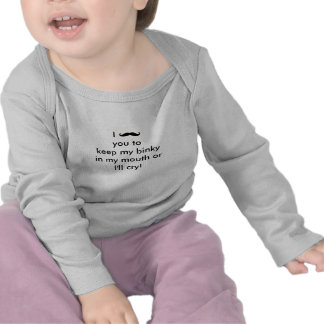 Luva longa do humor bonito do bigode do bebê tshirt