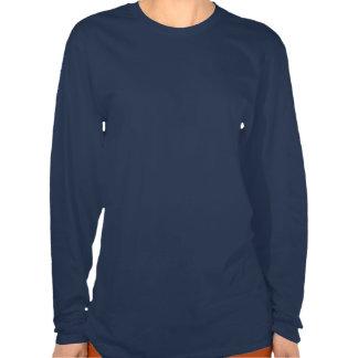 Luva longa do marinho das mulheres do logotipo de  tshirt