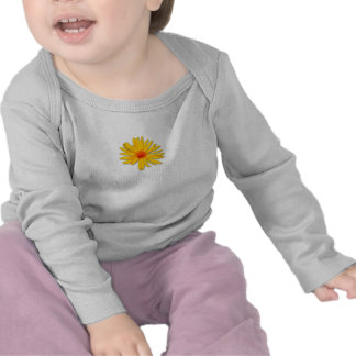 Luva longa infantil da flor amarela t-shirts