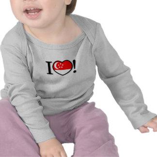 Luva longa infantil de Singapore do coração Camiseta