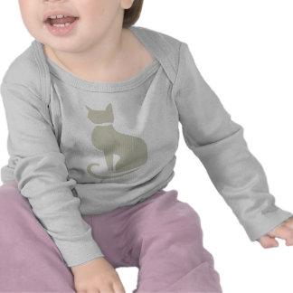 Luva longa infantil do gato bege t-shirts